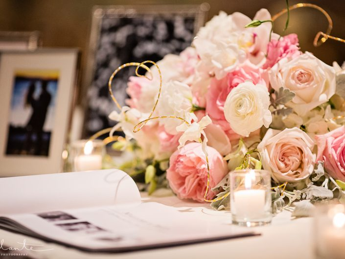 Peach Blush coral roses centerpiece