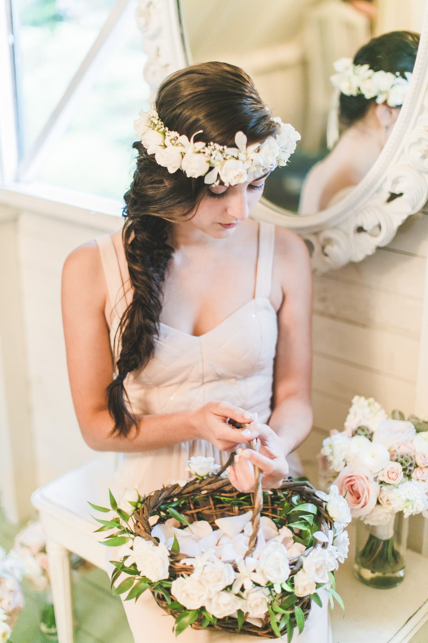 3seattle Floral Design Wedding Flower Girl Busket Halo Hair Flowers