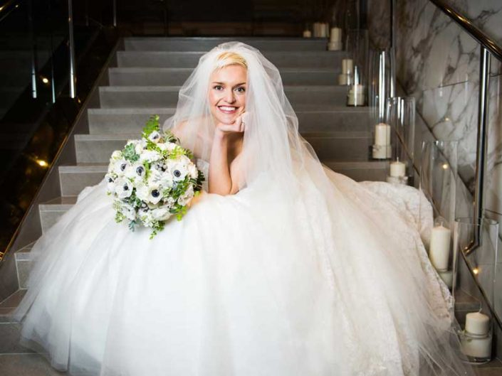 Four Seasons Bride on stairs