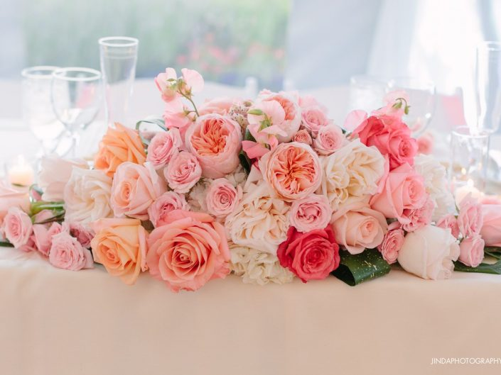Centerpiece peach blush wedding party table