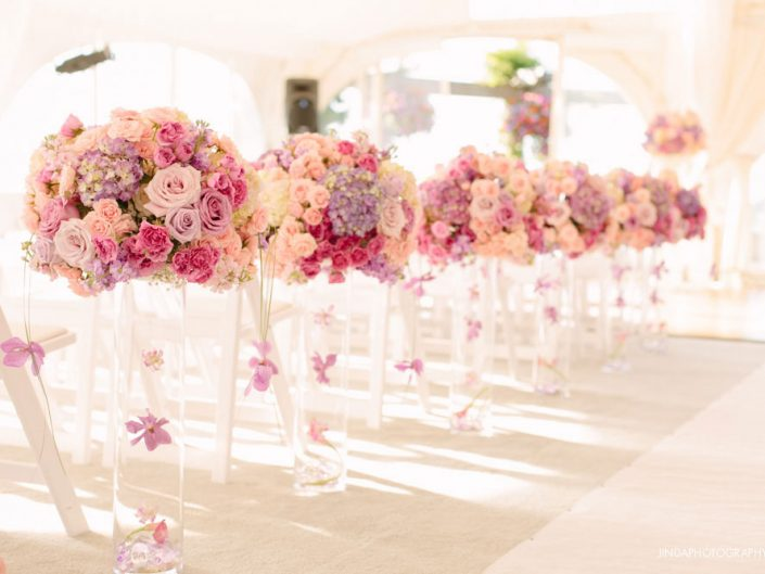 wedding-ceremony-aisle-decor-blush-lavender-light-pink-purple-hydrangea-orchid-roses-Newcastle-Golf-Club