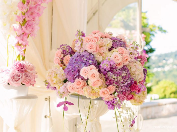 wedding-centerpiece-blush-pink-lavender-light-pink-hydrangea-orchid-roses-ranunculus-Newcastle-Golf-Club