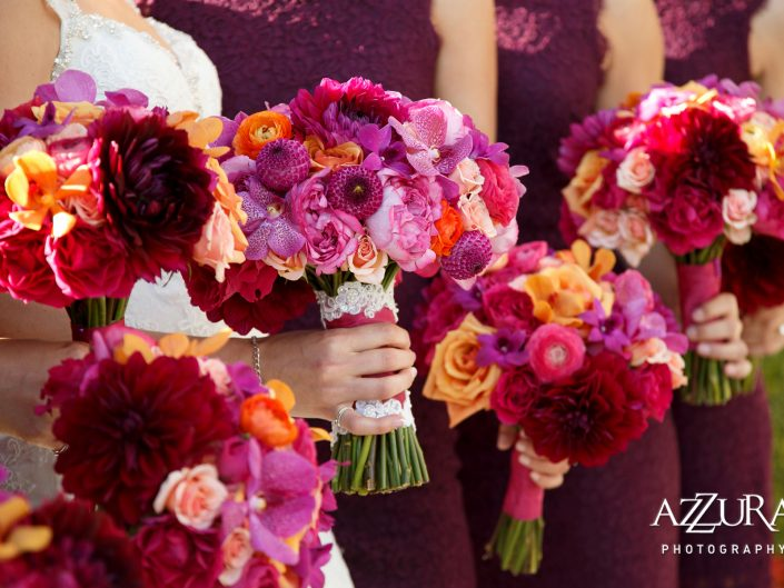 weddings-New-Castle-Golf-Club-bridal-bouquet-bridesmaids-magenta-burgundy-orange-sunset-orchid-garden-rose-dahlia