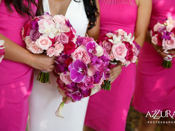 bridal-bouquet-bridesmaids-Woodmark-Hotel-orchids-garden-roses-calla-lilies