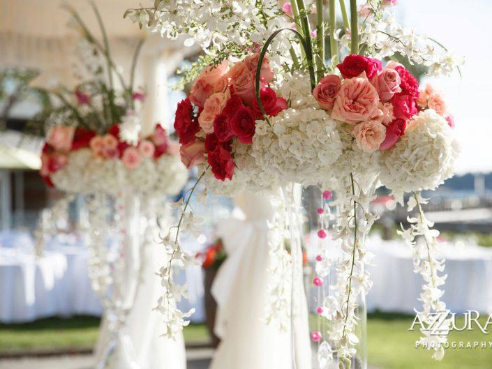 wedding-ceremony-Woodmark-Hotel-orchids-hmagenta-hot-pink