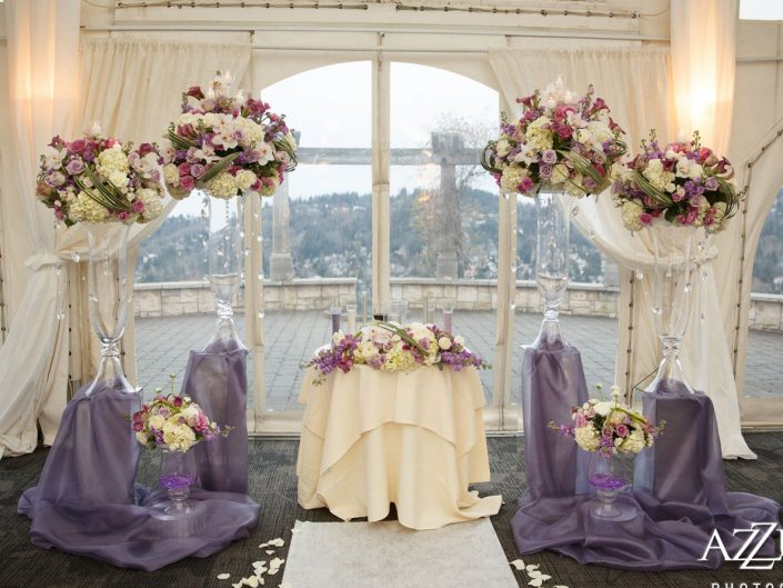 wedding-ceremony-luxuary-lavender-light-pink-calla-lily-orchid-roses-ranunculus-Newcastle-Golf-Club