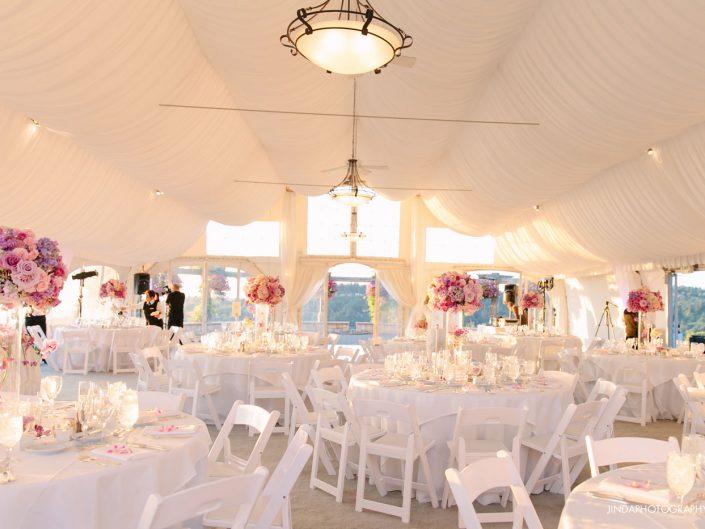 wedding-centerpiece-tall-blush-pink-lavender-light-pink-hydrangea-orchid-roses-ranunculus-Newcastle-Golf-Club