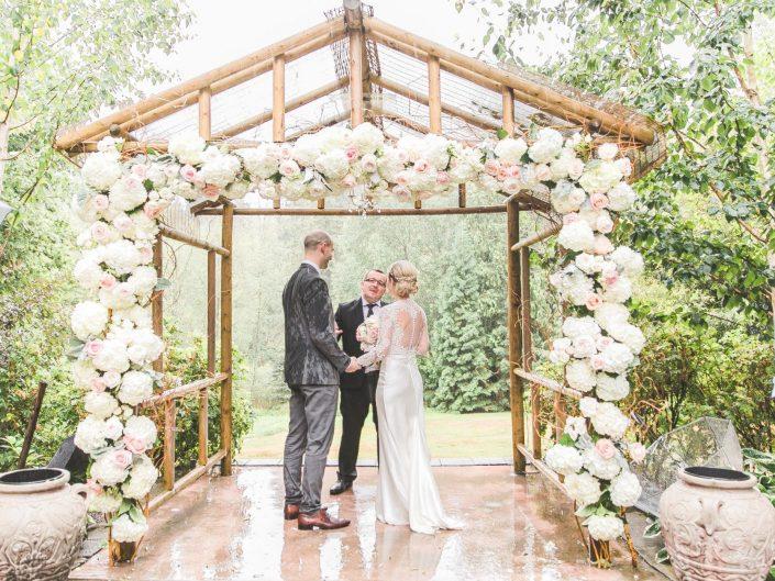 Jardin Del Sol Wedding Ceremony Hydrangea roses succulent dusty miller